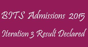 BITS Admissions 2015 Iteration 3 Result