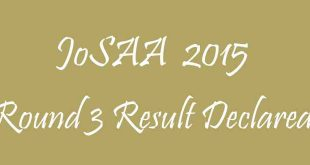 JoSAA Round 3 Result Declared