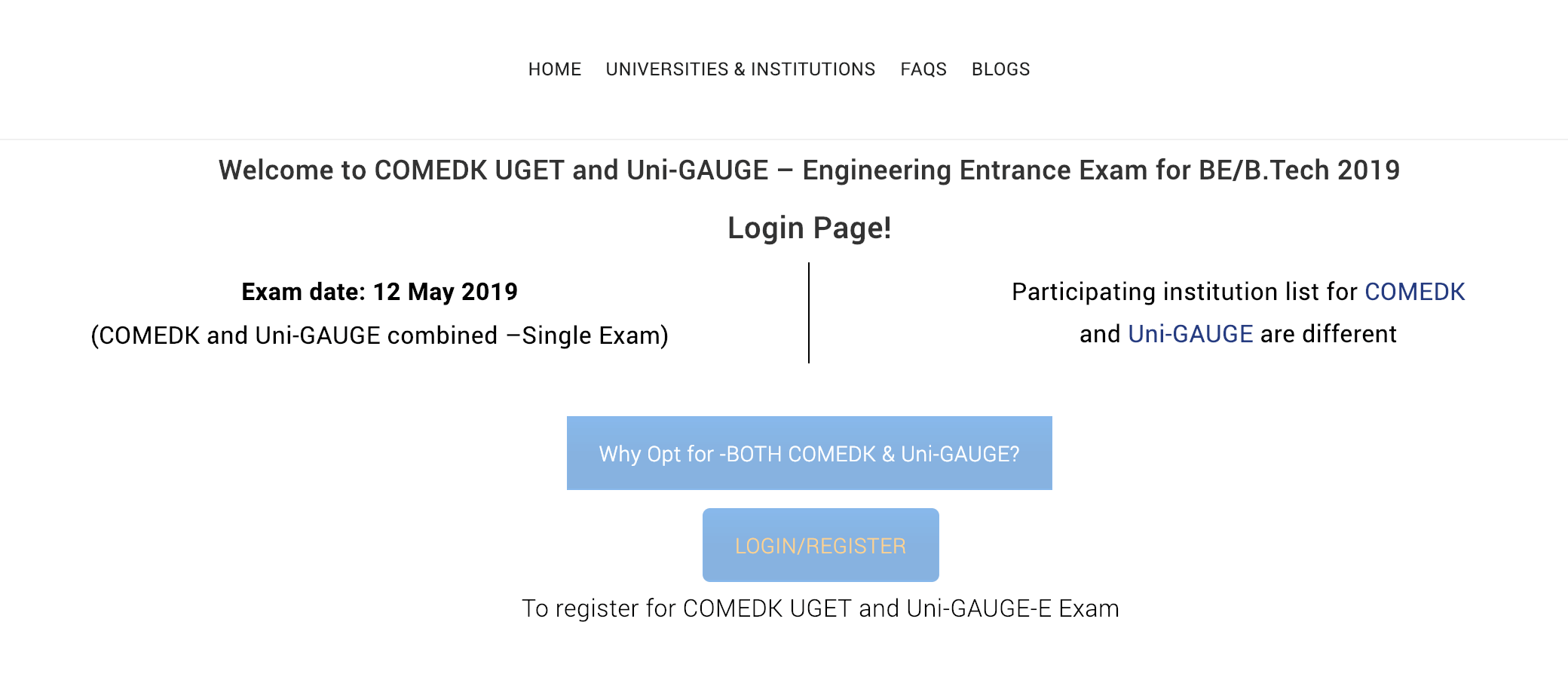 COMEDK UGET 2019 Registrations Started Screenshot