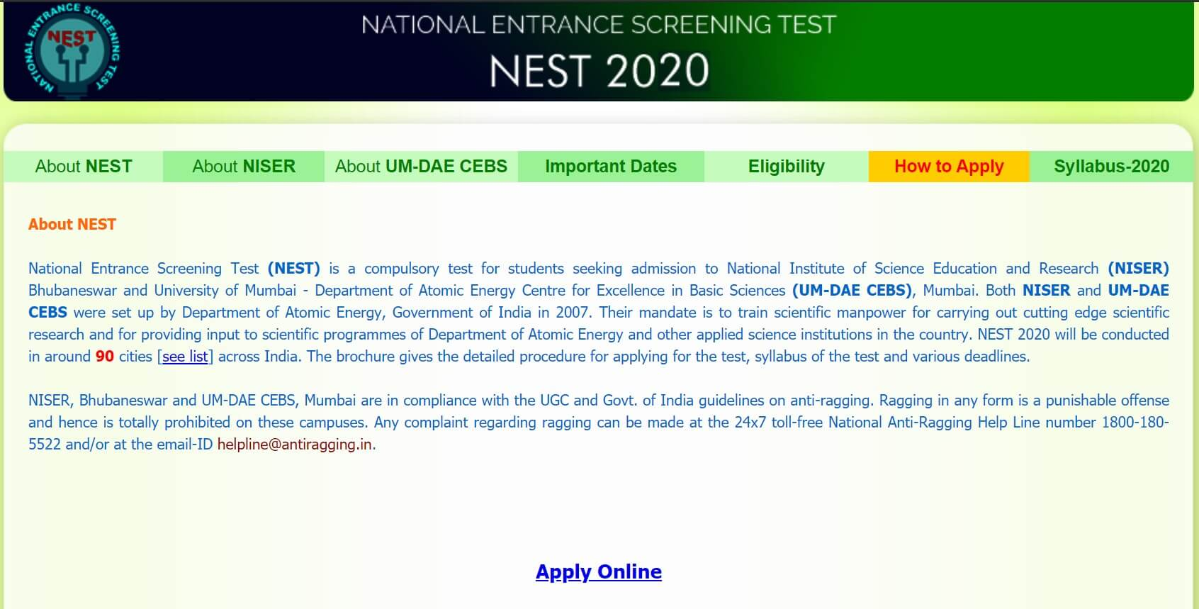 NEST 2020 Registrations Started Screenshot